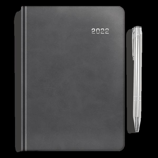 kalendarz książkowy A5 dzienny AKSAMITNA SZAROŚĆ + długopis   PREZENT02