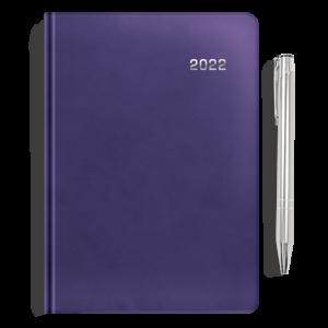 kalendarz książkowy A5 dzienny ŚLIWKOWY + długopis | PREZENT03