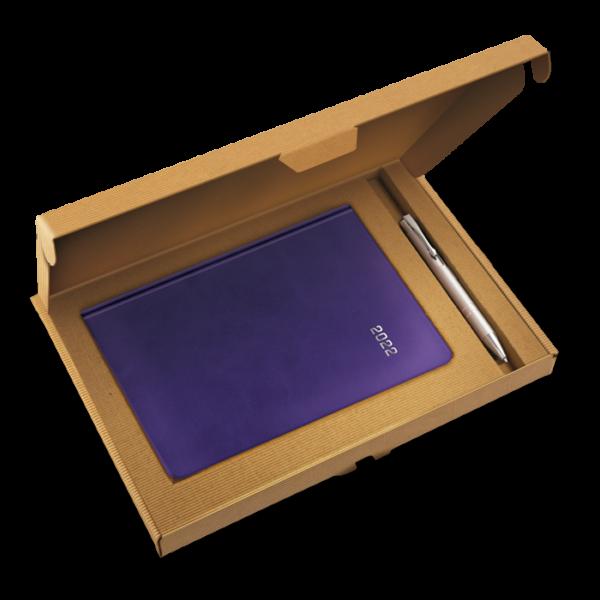 kalendarz książkowy A5 dzienny ŚLIWKOWY + długopis   PREZENT03