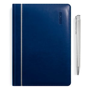 kalendarz książkowy A5 dzienny GRANAT I SREBRO + długopis | PREZENT04