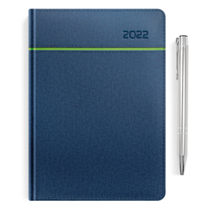 kalendarz książkowy A5 dzienny CHABROWY I SELEDYN + długopis | PREZENT05