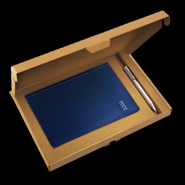 kalendarz książkowy A5 dzienny METALIZOWANY GRANAT + długopis | PREZENT06