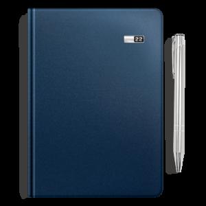kalendarz książkowy A5 dzienny MATOWY ATRAMENTOWY + długopis | PREZENT07
