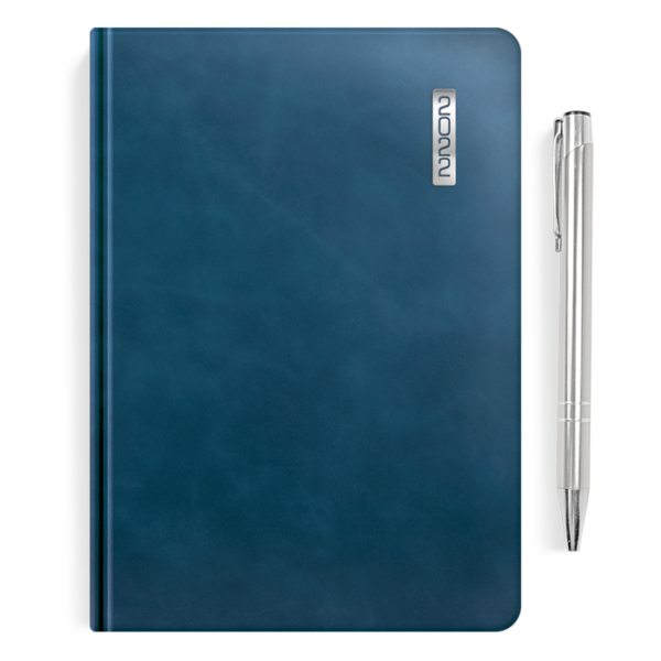 kalendarz książkowy A5 dzienny AKSAMITNY GRANAT + długopis | PREZENT09
