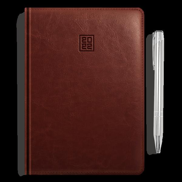 kalendarz książkowy A5 dzienny ORZECHOWY BRĄZ + długopis   PREZENT10