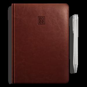 kalendarz książkowy A5 dzienny ORZECHOWY BRĄZ + długopis | PREZENT10