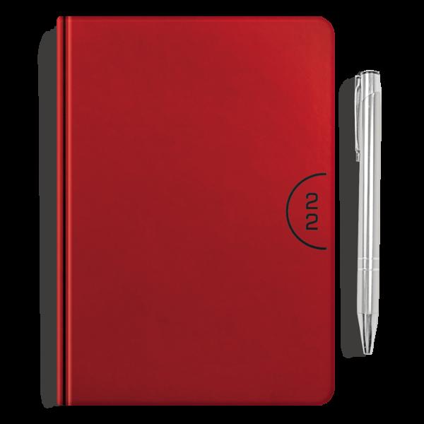 kalendarz książkowy A5 dzienny CZERWIEŃ + długopis   PREZENT11