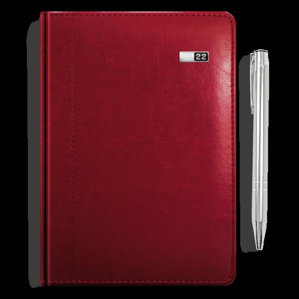 kalendarz książkowy A5 dzienny BURGUND + długopis   PREZENT12