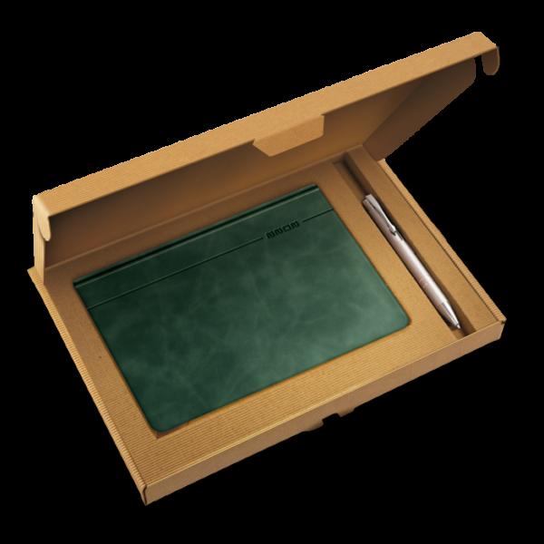 kalendarz książkowy A5 dzienny BUTELKOWA ZIELEŃ + długopis | PREZENT13