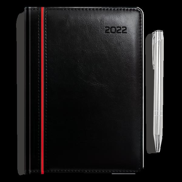 kalendarz książkowy A5 dzienny CZERŃ I CZERWIEŃ + długopis   PREZENT16