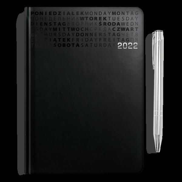kalendarz książkowy A5 dzienny ONYKS + długopis | PREZENT17