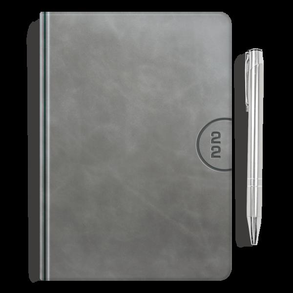 kalendarz książkowy A5 dzienny AKSAMITNY POPIEL + długopis   PREZENT19