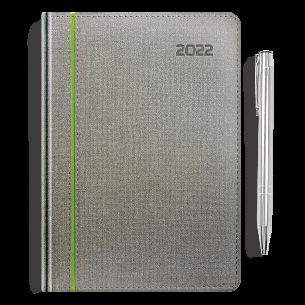 kalendarz książkowy A5 dzienny SZAROŚĆ I SELEDYN + długopis   PREZENT20