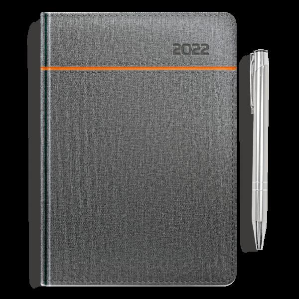 kalendarz książkowy A5 dzienny SZAROŚĆ I POMARAŃCZ + długopis | PREZENT21