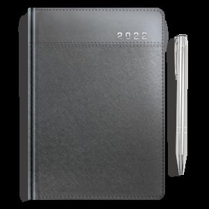 kalendarz książkowy A5 dzienny METALIZOWANY GRAFIT + długopis   PREZENT22