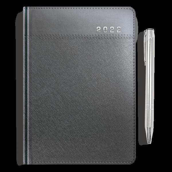 kalendarz książkowy A5 dzienny METALIZOWANY GRAFIT + długopis | PREZENT22