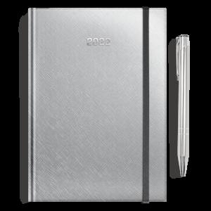 kalendarz książkowy A5 dzienny SREBRO + długopis   PREZENT24
