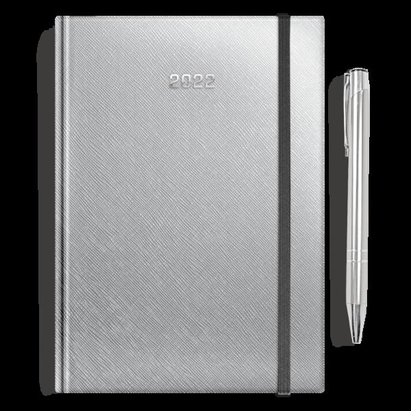 kalendarz książkowy A5 dzienny SREBRO + długopis | PREZENT24