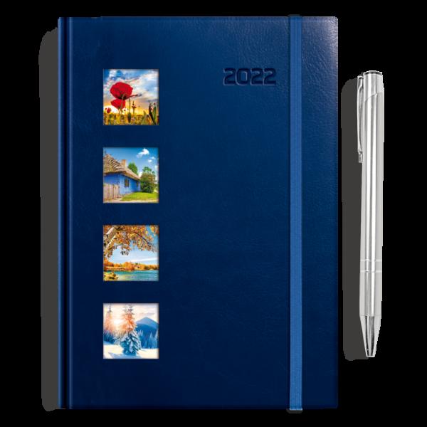 kalendarz książkowy A5 dzienny CZTERY PORY ROKU + długopis | PREZENT25