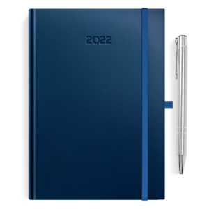 kalendarz książkowy A5 dzienny MATOWY GRANAT + długopis   PREZENT28