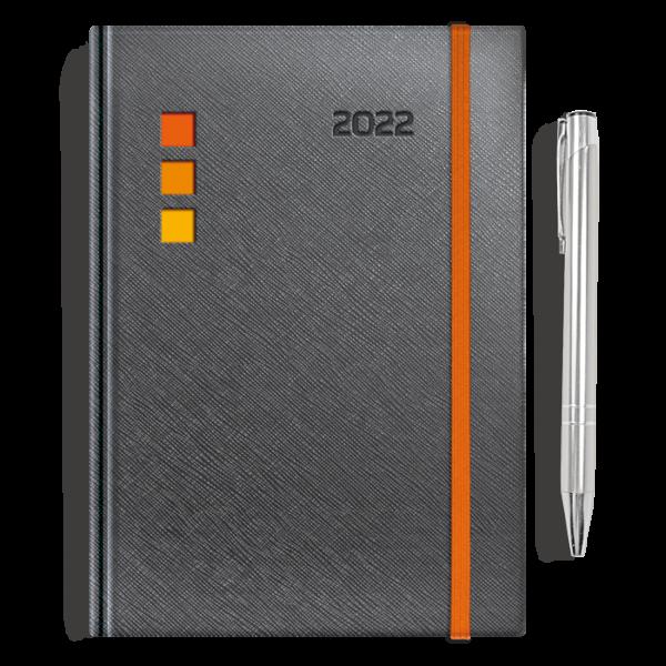 kalendarz książkowy A5 dzienny METALIZOWANY GRAFIT + długopis   PREZENT29