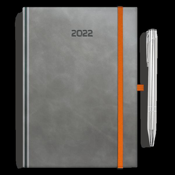 kalendarz książkowy A5 dzienny AKSAMITNY POPIEL + długopis | PREZENT30