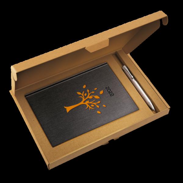 kalendarz książkowy A5 dzienny DRZEWKO POMARAŃCZ  + długopis | PREZENT31