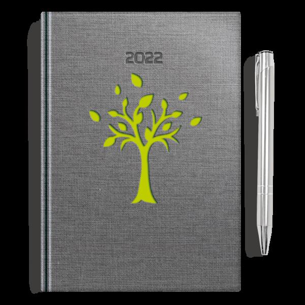 kalendarz książkowy A5 dzienny DRZEWKO SELEDYN  + długopis   PREZENT32