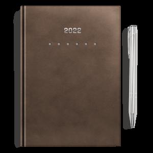 kalendarz książkowy A5 dzienny AKSAMITNY BRĄZ + długopis | PREZENT34