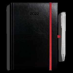 kalendarz książkowy A5 dzienny CZERŃ + długopis | PREZENT36